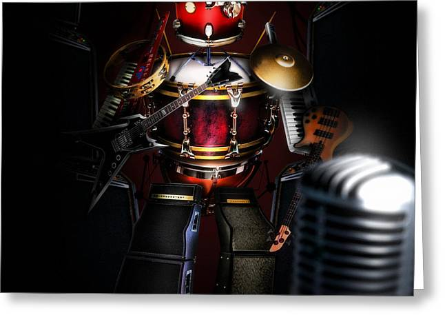 Player Greeting Cards - One man band Greeting Card by Alessandro Della Pietra