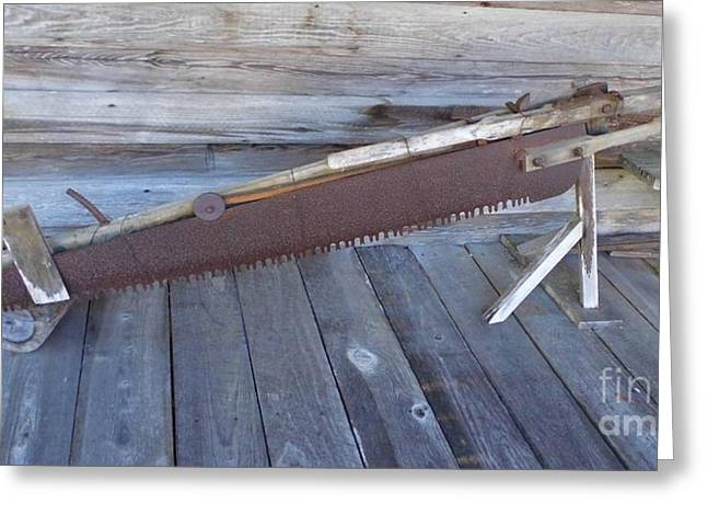 20th Greeting Cards - One Man Crosscut Saw Greeting Card by D Hackett