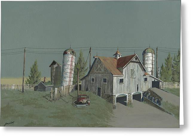 Old Barns Greeting Cards - One Mans Castle Greeting Card by John Wyckoff