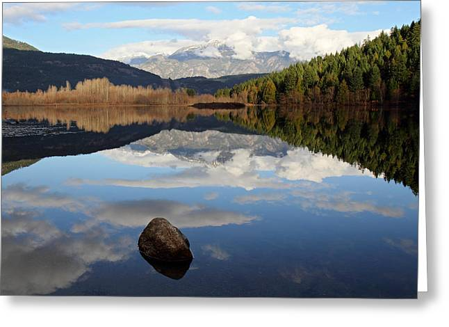 Mile One Greeting Cards - One mile lake one rock reflection Pemberton B.C Canada Greeting Card by Pierre Leclerc Photography