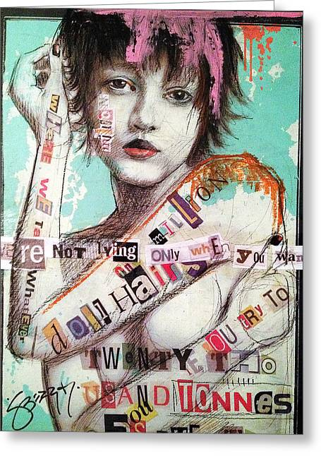 Jenny Mixed Media Greeting Cards - One Million Doll Hairs Greeting Card by Jenny Berry