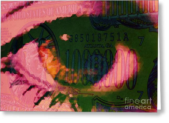 Inflation Digital Greeting Cards - One Million / Pink Greeting Card by Elizabeth McTaggart