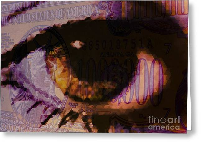Inflation Digital Greeting Cards - One Million / Purple Greeting Card by Elizabeth McTaggart