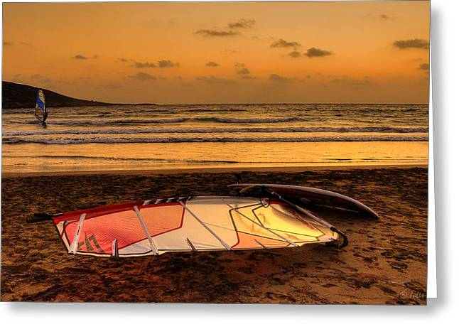 Kite Surfing Greeting Cards - One More Day of Gresat Windsurfing in Prasonisi is Over Greeting Card by Julis Simo