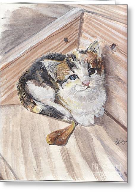 Custom Pet Drawing Greeting Cards - One More Step Greeting Card by Callie Smith