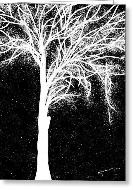 Snow And Night Sky Greeting Cards - One More Tree Greeting Card by Kume Bryant