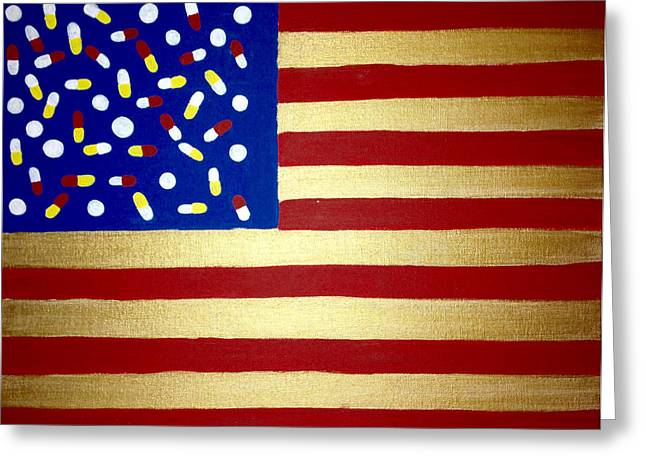 Pill Paintings Greeting Cards - One Nation Under Medication Greeting Card by Kerin Bowen