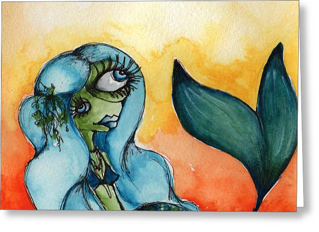 Under The Sea Mermaid Greeting Cards - One of a Kind Greeting Card by Darnel Tasker