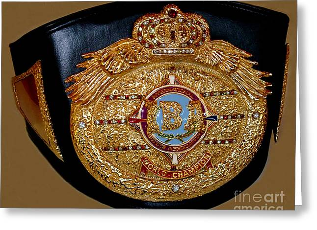 Wrap Jewelry Greeting Cards - One of Ana Julatons World Championship Boxing Belts Greeting Card by Jim Fitzpatrick