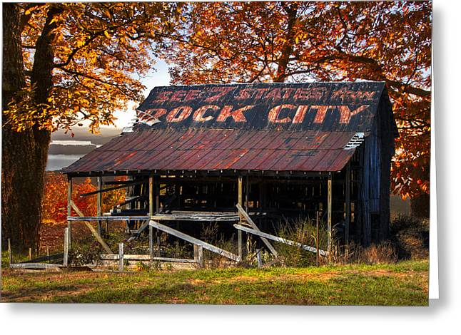 Nantahala Forest Greeting Cards - One of the Famous See Rock City Barns Greeting Card by Debra and Dave Vanderlaan