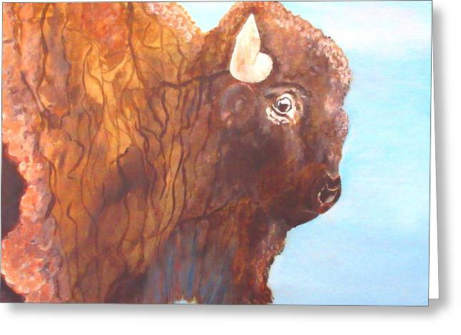 Buffalo Extinction Greeting Cards - One Of The Mighty Few Greeting Card by S AshleyAnn Goforth