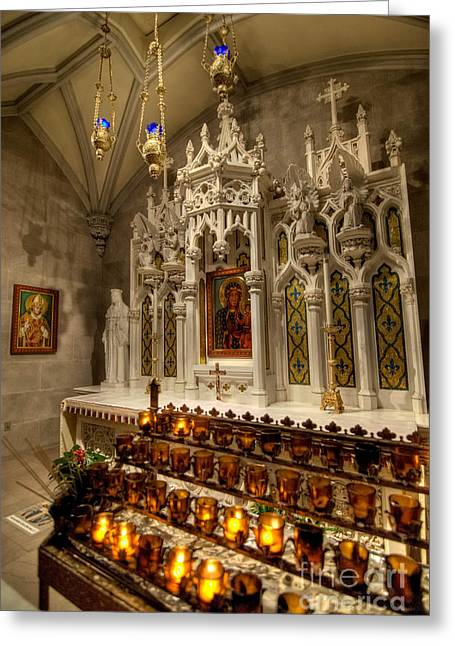 Votive Candles Greeting Cards - One of the Twelve Stations of the Cross in St Patricks Cathedr Greeting Card by Amy Cicconi