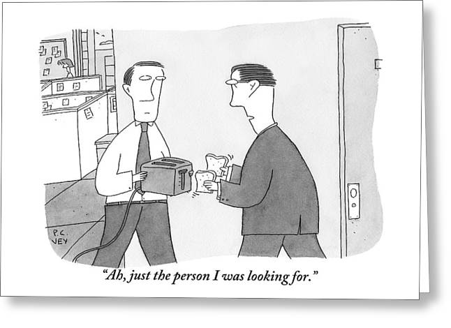 One Office Worker Greeting Card by Peter C. Vey
