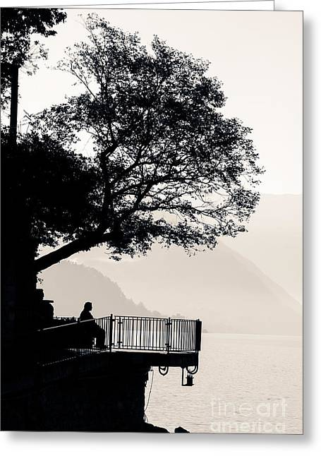 Overhang Greeting Cards - One Old Man Sitting In Shade Of Tree Overlooking Lake Como Greeting Card by Peter Noyce