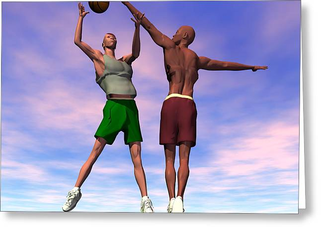 Shooting Hoops Greeting Cards - One on One Greeting Card by Walter Oliver Neal