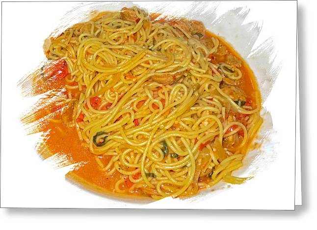 Spaghetti Greeting Cards - One Pan Pasta Plated Greeting Card by Constantine Gregory