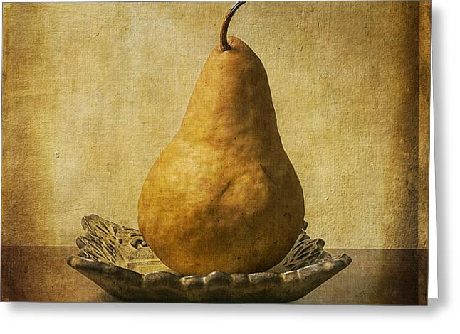 Bosc Greeting Cards - One Pear Meditation Greeting Card by Terry Rowe