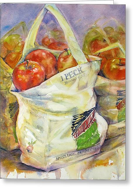 Fresh Produce Paintings Greeting Cards - One Peck Greeting Card by Judith Levins
