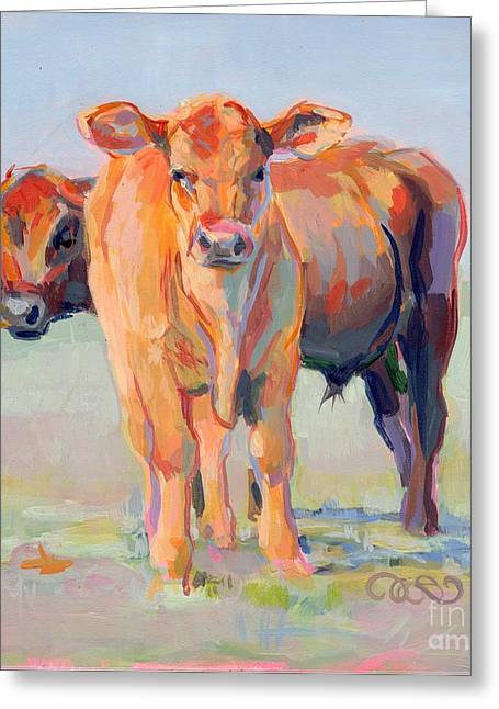 Bovine Greeting Cards - One Plus One Greeting Card by Kimberly Santini