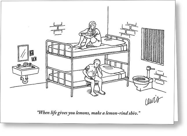 One Prisoner Sitting On The Top Of A Bunk Bed Greeting Card by Eric Lewis