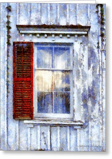 Worn In Greeting Cards - One Red shutter old Window Greeting Card by Janine Riley