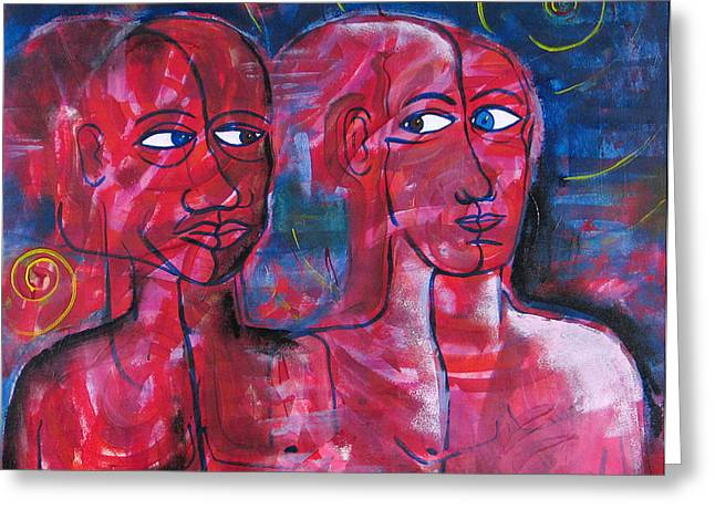 Face Tapestries - Textiles Greeting Cards - One Greeting Card by Rollin Kocsis