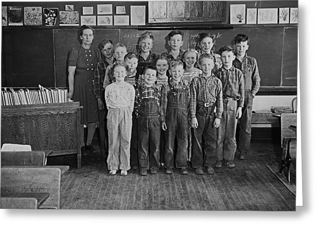 Country Schools Photographs Greeting Cards - One-room Country School - Group of Students with Teacher - North Greeting Card by Donald  Erickson
