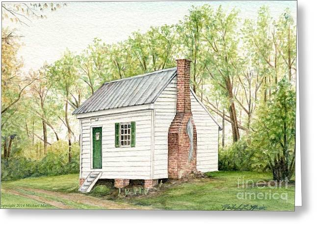 One Room School Houses Paintings Greeting Cards - One Room House Greeting Card by Michael  Martin