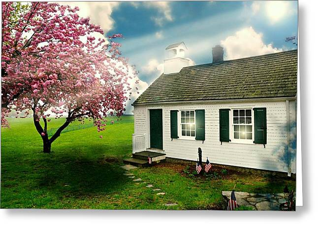 The Little Old Schoolhouse Greeting Card by Diana Angstadt
