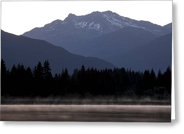 Ducks Lakes Greeting Cards - One Small Duck One Big Mountain Greeting Card by Aaron S Bedell