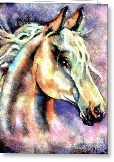 Native American Spirit Portrait Greeting Cards - One Spirit Greeting Card by Janine Riley