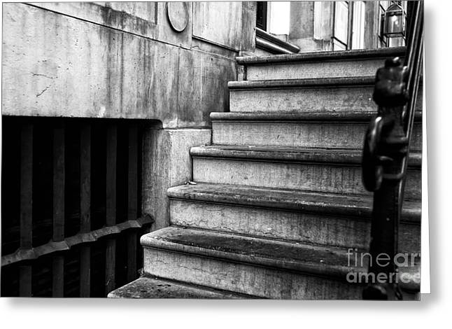 Stone Steps Greeting Cards - One Step at a Time in Amsterdam mono Greeting Card by John Rizzuto