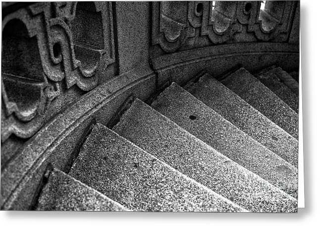 Stone Steps Greeting Cards - One Step at a Time in Hamburg mono Greeting Card by John Rizzuto