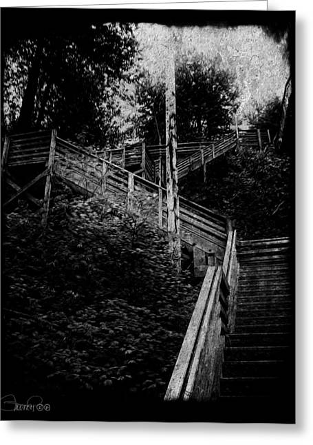 Wooden Stairs Pyrography Greeting Cards - One Step at a Time Greeting Card by Sheena Pike
