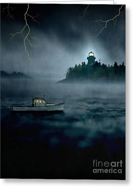 Fishermans Island Greeting Cards - One Stormy Night in Maine Greeting Card by Edward Fielding