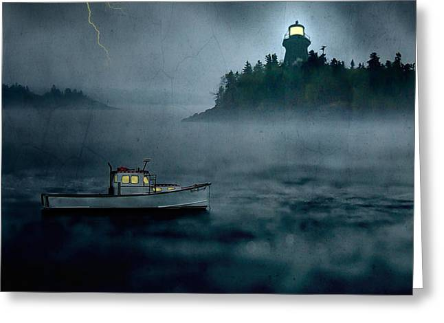 One Stormy Night in Maine Greeting Card by Edward Fielding