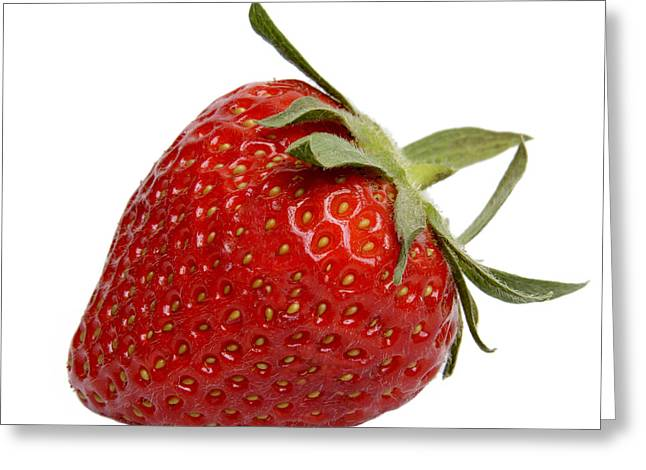 Red Fruit Greeting Cards - One strawberry Greeting Card by Bernard Jaubert