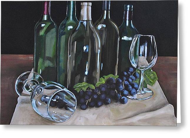 Wine Reflection Art Greeting Cards - One Too Many Greeting Card by Melissa Torres