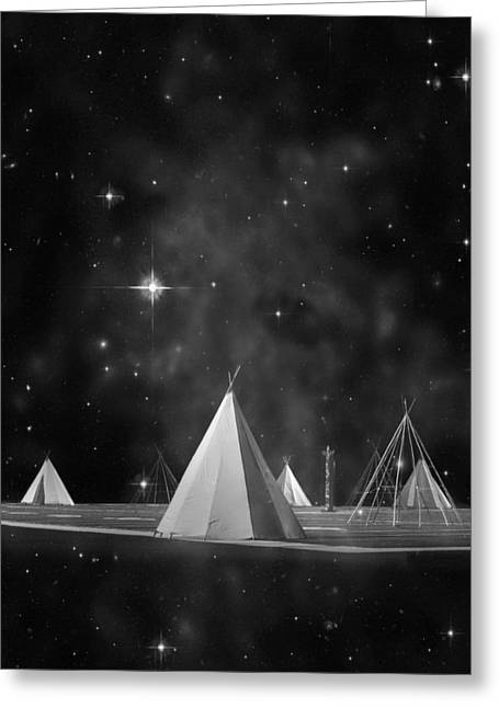 One Tribe Bw Greeting Card by Laura Fasulo