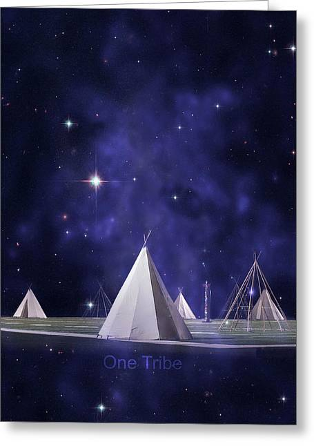 Children Digital Art Greeting Cards - One Tribe Greeting Card by Laura  Fasulo