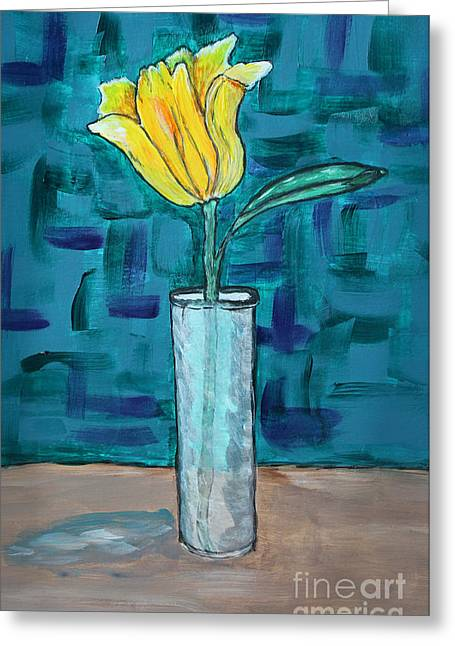 Modern Photographs Greeting Cards - One Tulip One Vase - Art Painting Greeting Card by Ella Kaye Dickey