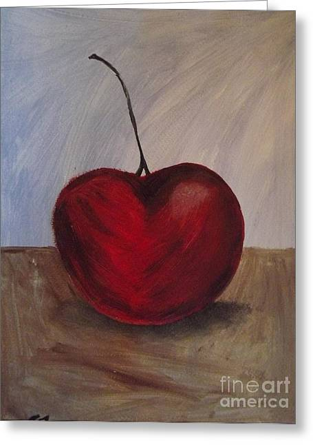 One Very Cherry Greeting Card by Becca J