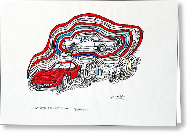 Husky Greeting Cards - One Vette and two Lincs Greeting Card by Dietmar Scherf