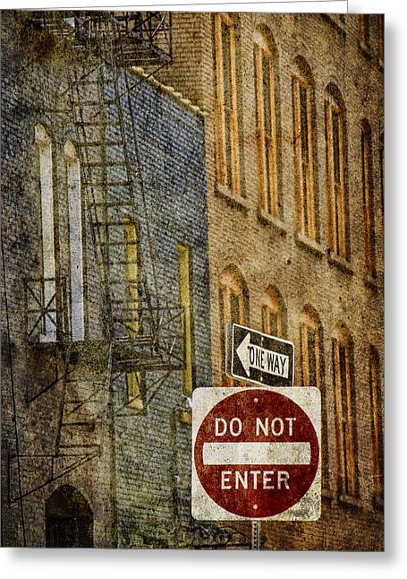 Randy Greeting Cards - One Way and Do Not Enter Signs in Front of High Rise Building with Fire Escape Greeting Card by Randall Nyhof
