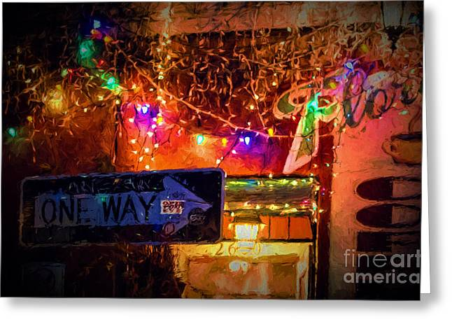 Night Cafe Digital Art Greeting Cards - One Way Night Cafe - NOLA Greeting Card by Kathleen K Parker