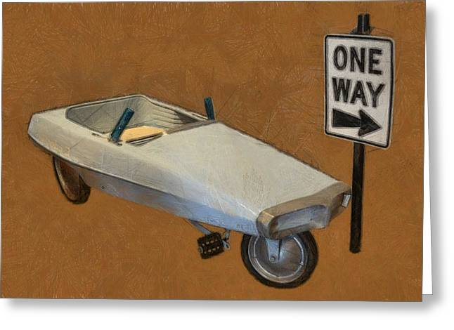 Pedal Car Greeting Cards - One Way Pedal Car Greeting Card by Michelle Calkins