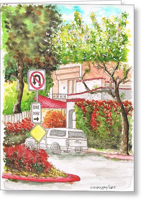 Architecrure Greeting Cards - One Way Sign in San Vicente Blvd - West Hollywood - California Greeting Card by Carlos G Groppa