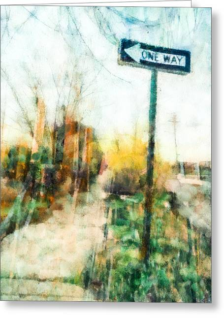 Directional Signage. Greeting Cards - One Way Sign Greeting Card by Priya Ghose