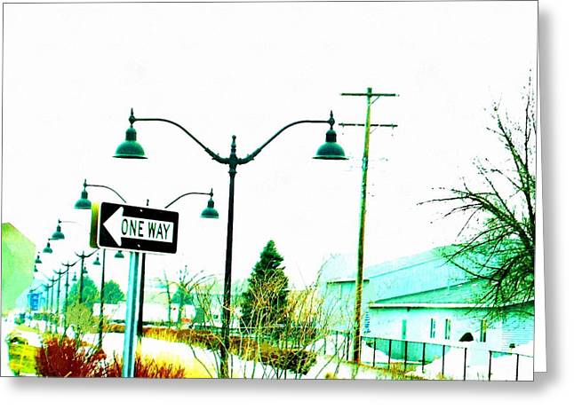 Occurrence Greeting Cards - One Way Ticket RailRoad Depot Stop Greeting Card by Rosemarie E Seppala