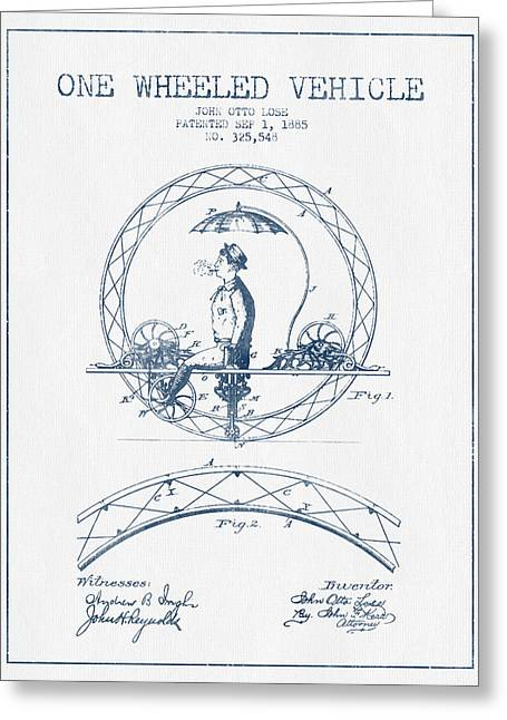 Driving Greeting Cards - One Wheeled Vehicle Patent Drawing from 1885 - Blue Ink Greeting Card by Aged Pixel